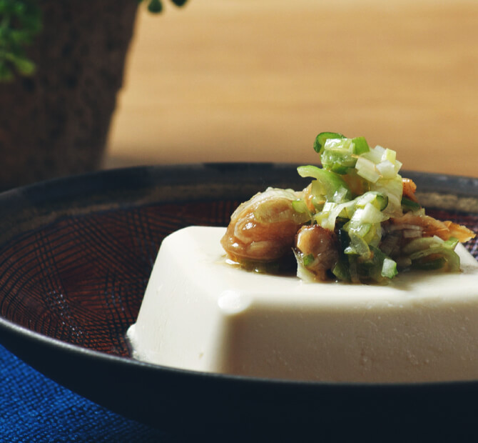 豆腐の佃煮添え ねぎ塩レモン